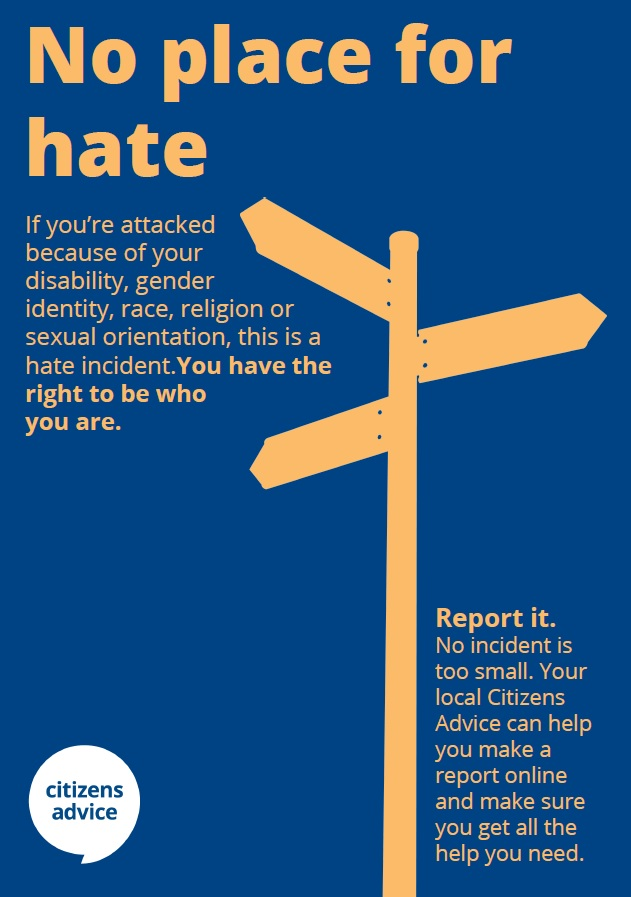 Did you know that Citizens Advice County Durham is a Hate Crime Reporting Centre?